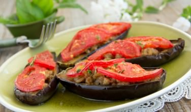Greek stuffed eggplant melitzanes me lathi recipe eggplant is a favorite in greek cooking and melitzanes me lathi is a classic greek dish this eggplant recipe is great as a main dish because its forumfinder Choice Image