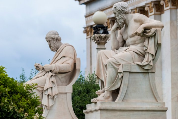 Socrates and Plato statues