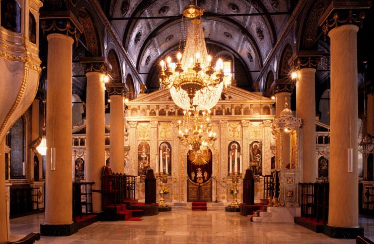 Gathering in Greek Orthodox Church