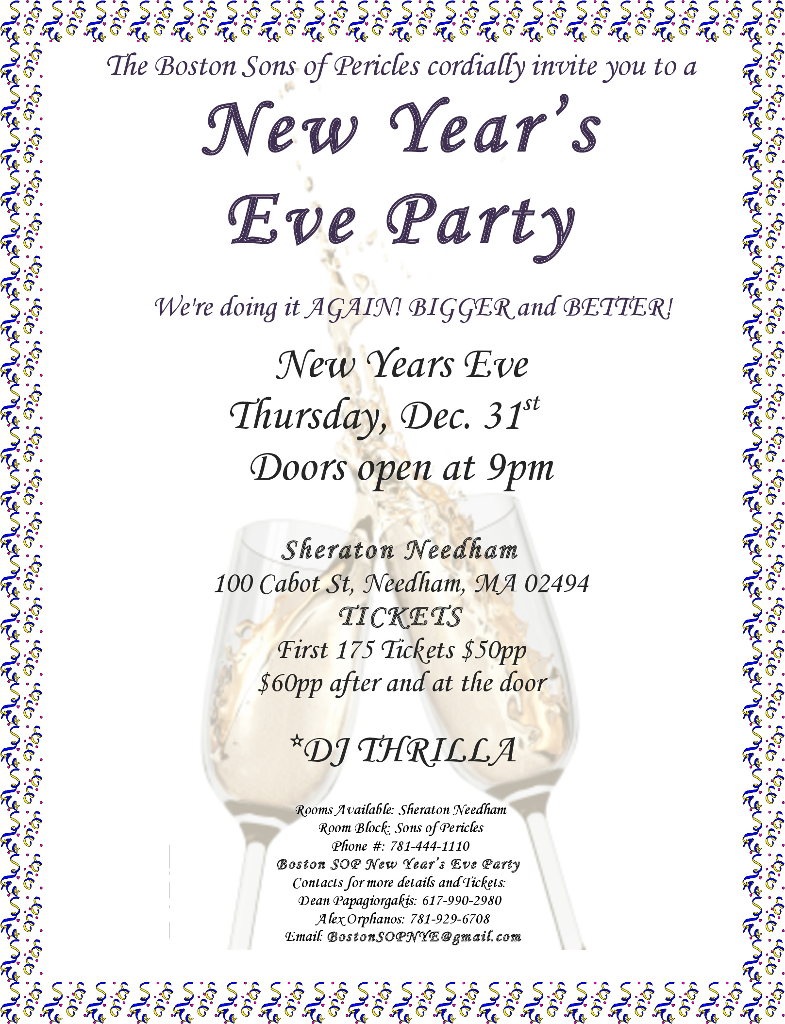 Annual Boston Sons of Pericles New Years Eve Party