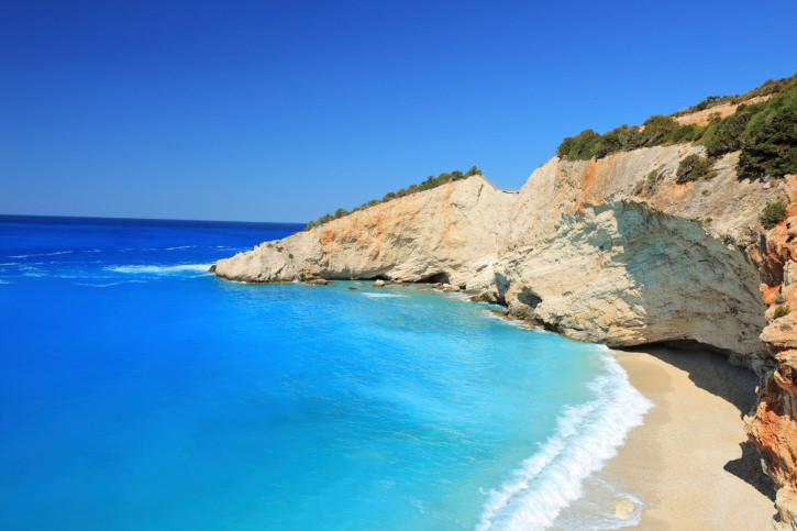 Porto Katsiki beach on Lefkada
