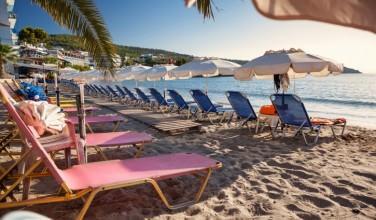 Agia Marina beach on Aegina Island, Greece