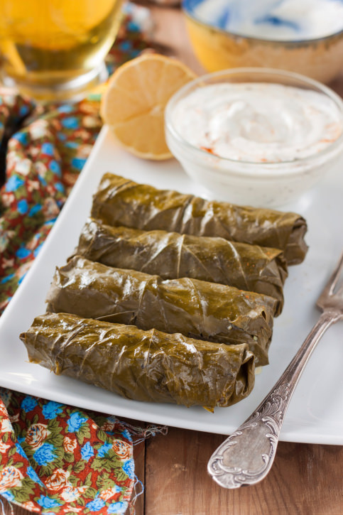 dolma - vine leaves stuffed with ground beef and rice