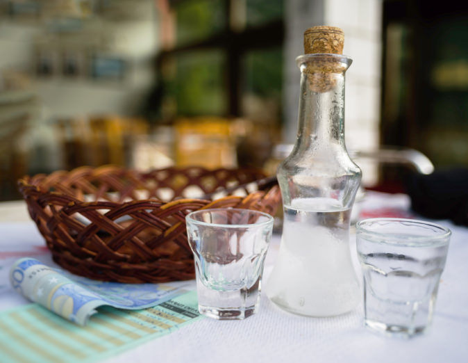 Horizontal vivid Greece raki cafe background backdrop