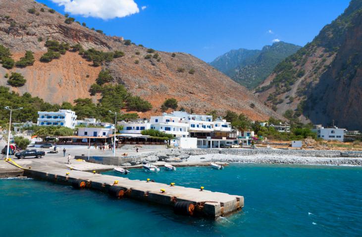 Aghia Roumeli bay at Crete island in Greece
