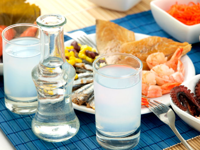 Ouzo and seafood on a table