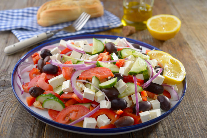 Greek salad on a rustic table