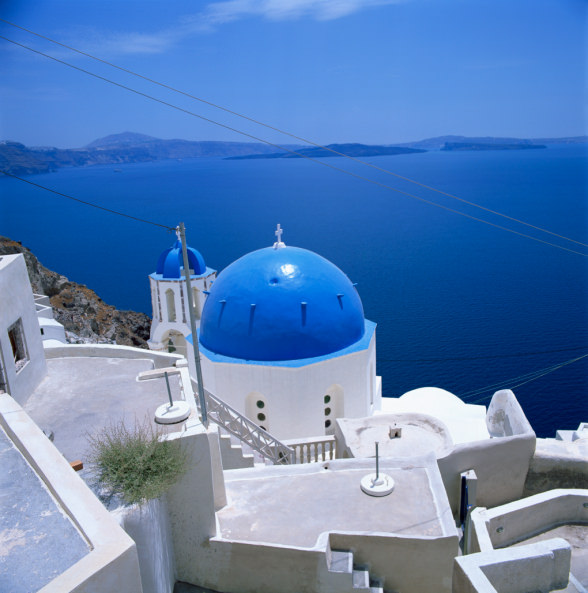 Blue church dome in Imerovigli, Santorini