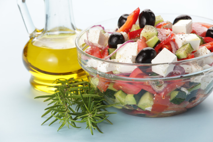 Greek salad served with olive oill