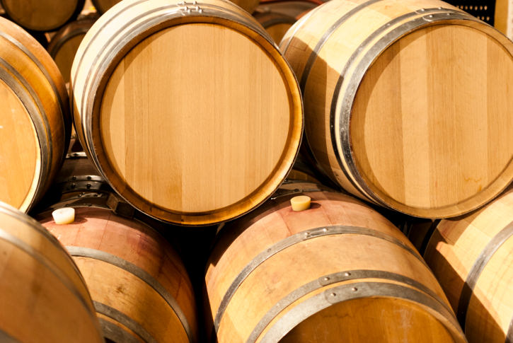 French oak barrels stacked at the winery