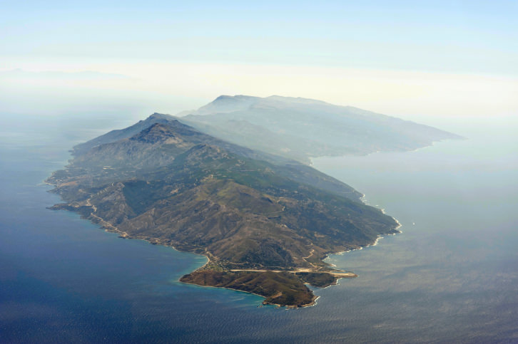 Aerial image of greek island Ikaria