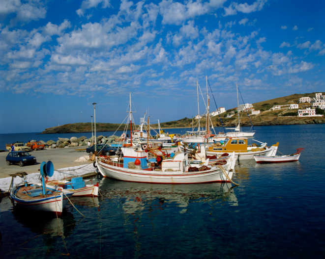 Fishing boats moored in Andros, Greece