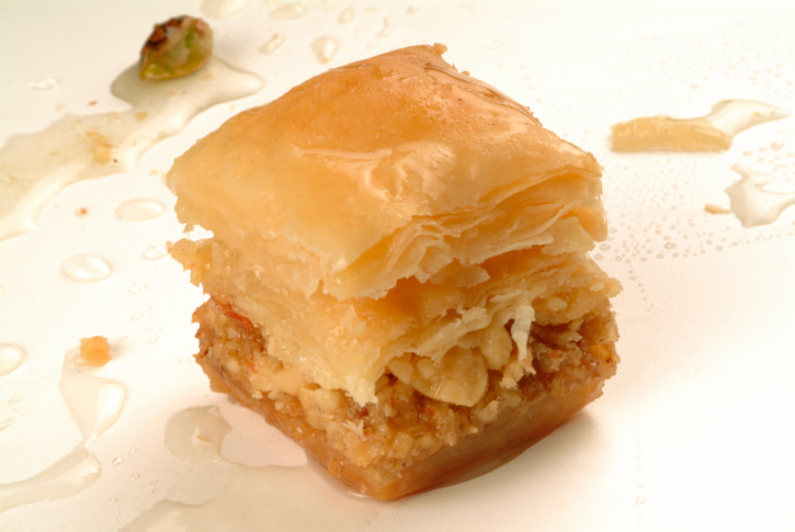 baklava sweet made with honey and pistachio nuts