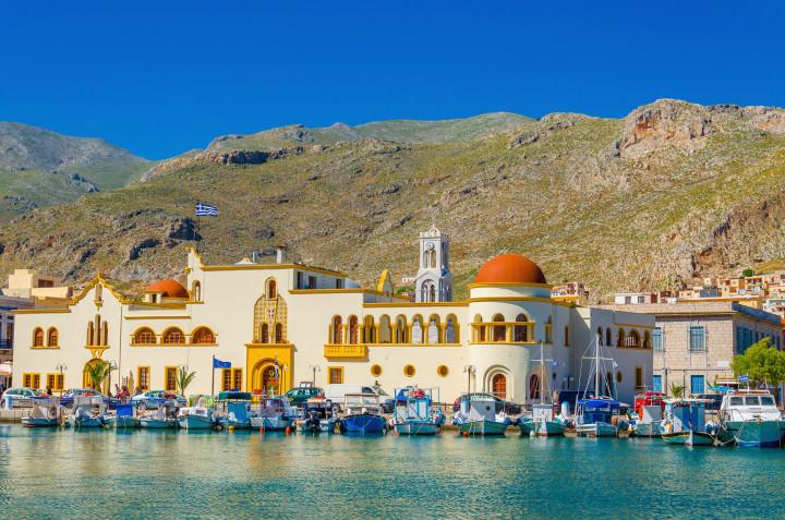 Town hall of Pohtia on Kalymnos Island, Greece