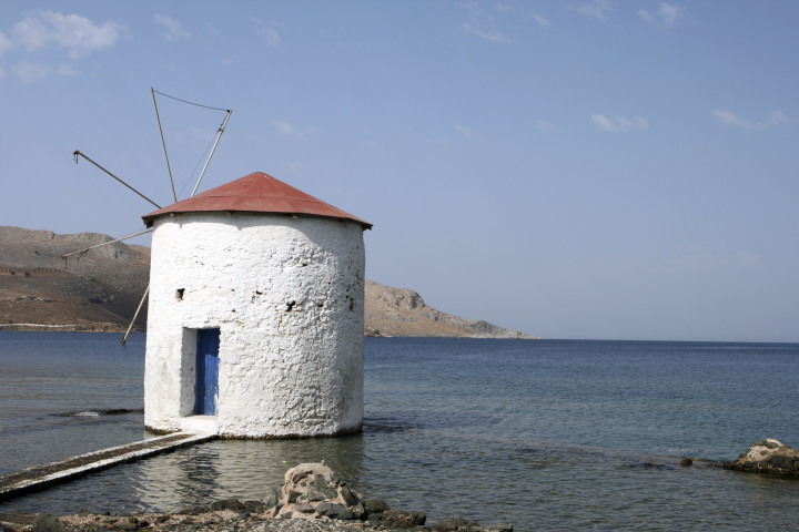 floating water mill in the sea Leros island dodecanese greece