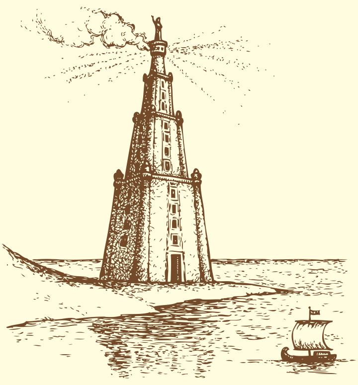 Illustration of a series of vector drawings for the Seven Wonders of the Ancient World. Lighthouse of Alexandria, also known as Pharos of Alexandria