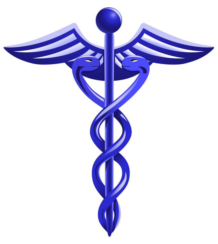 vector blue caduceus symbol on white background