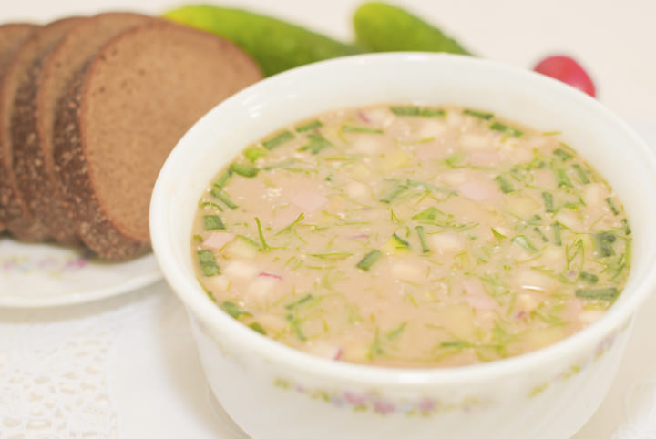 Okroshka is a traditional national dish of Russian cuisine, cold soup