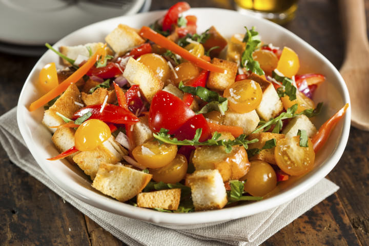 Traditional Healthy Panzanella Salad with Bread Crumbs and Veggies