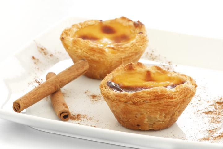 "Typical Portuguese custard pies (""Pastel de Nata"" or ""Pastel de Belém"")."