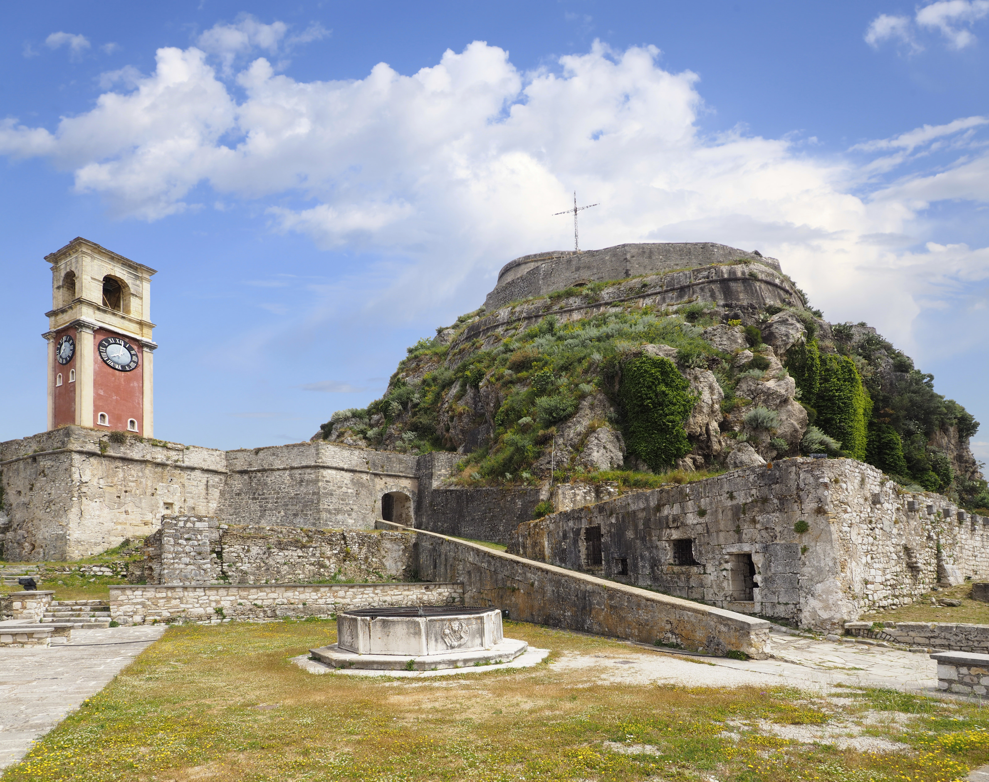 The Old Fort and Clock Tower at Corfu, Greece