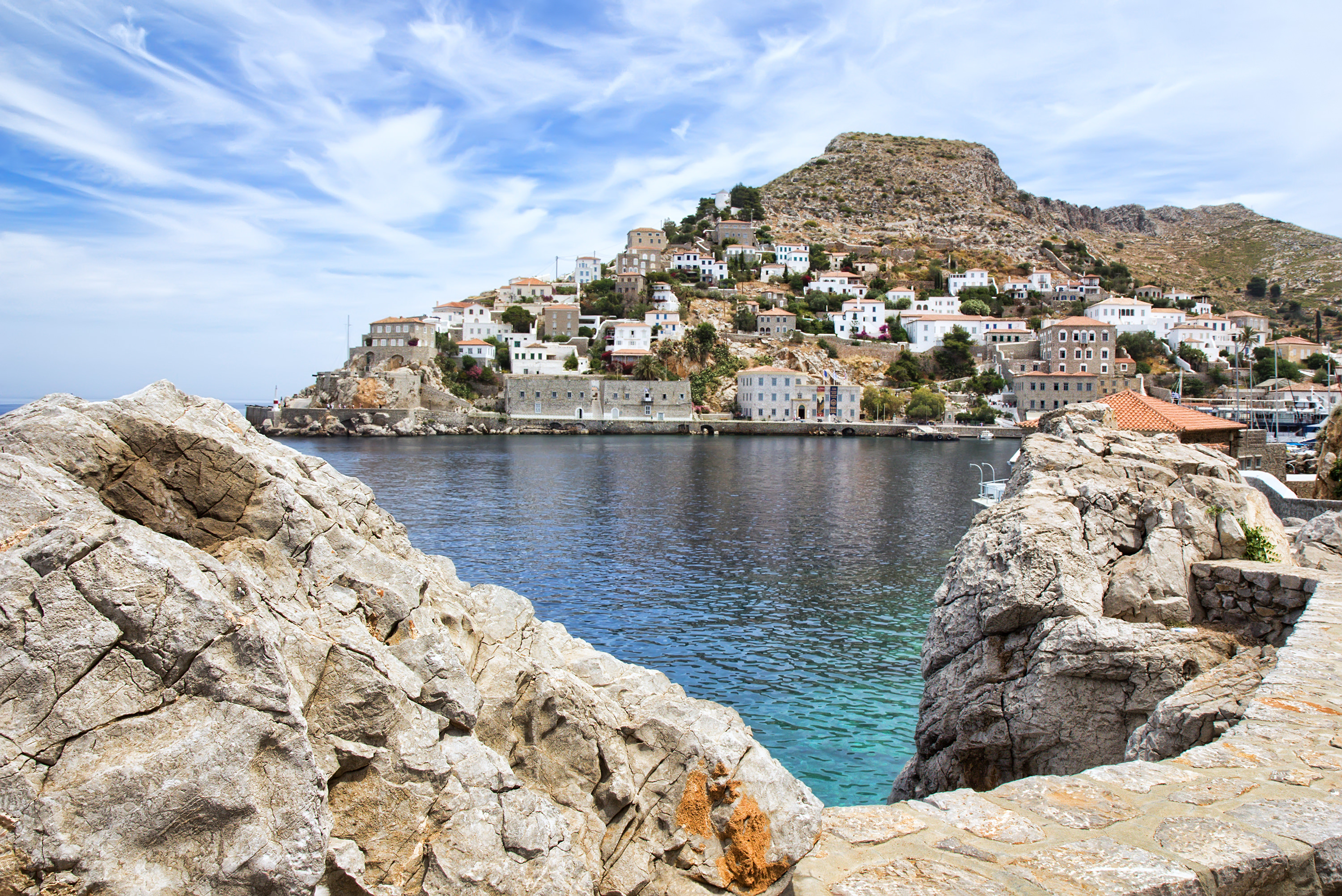 View of Hydra or Ydra, a picturesque Greek Saronic island in the Aegean Sea.