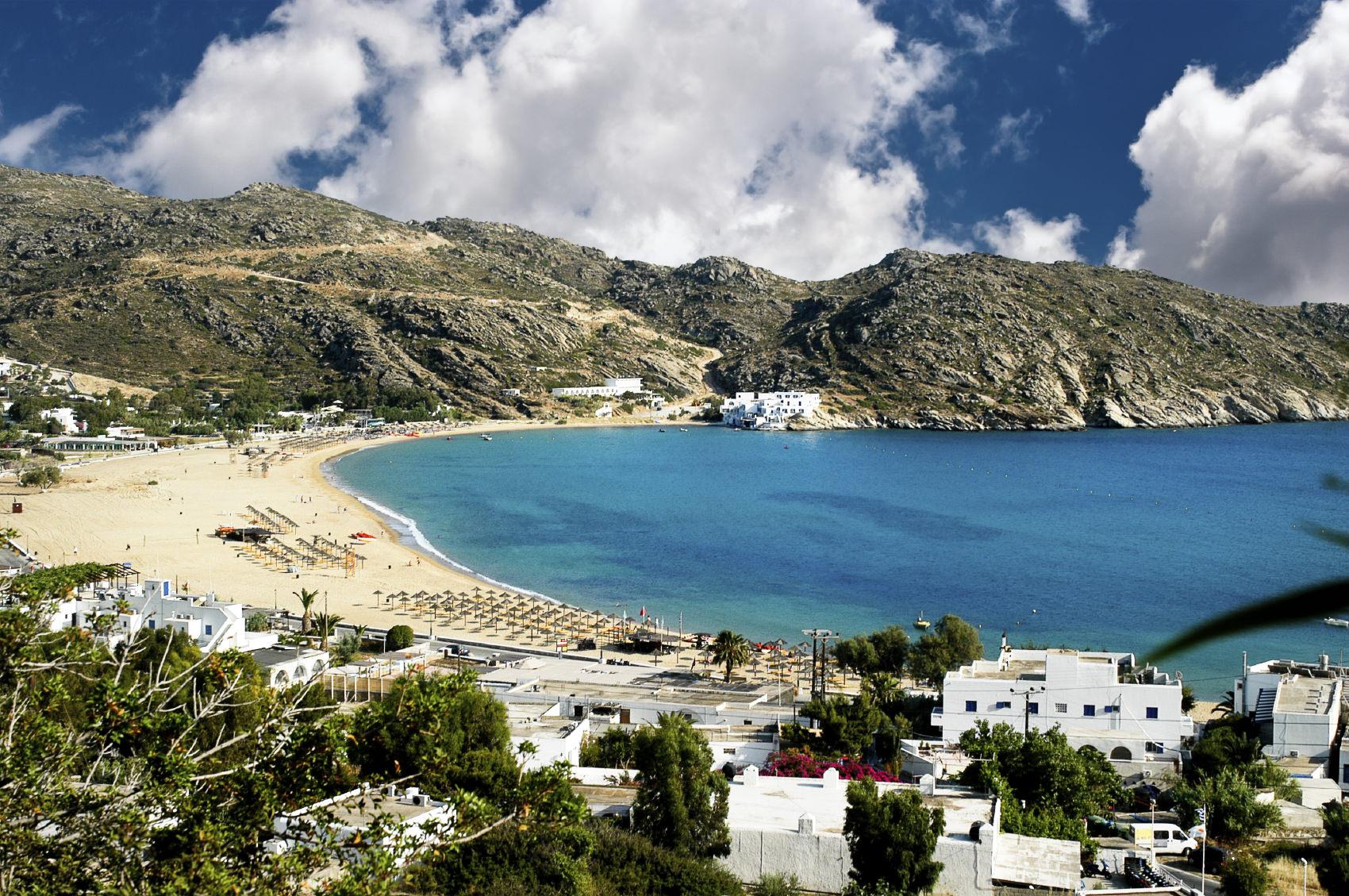 View of Mylopotas beach, Ios island, Cyclades, Greece