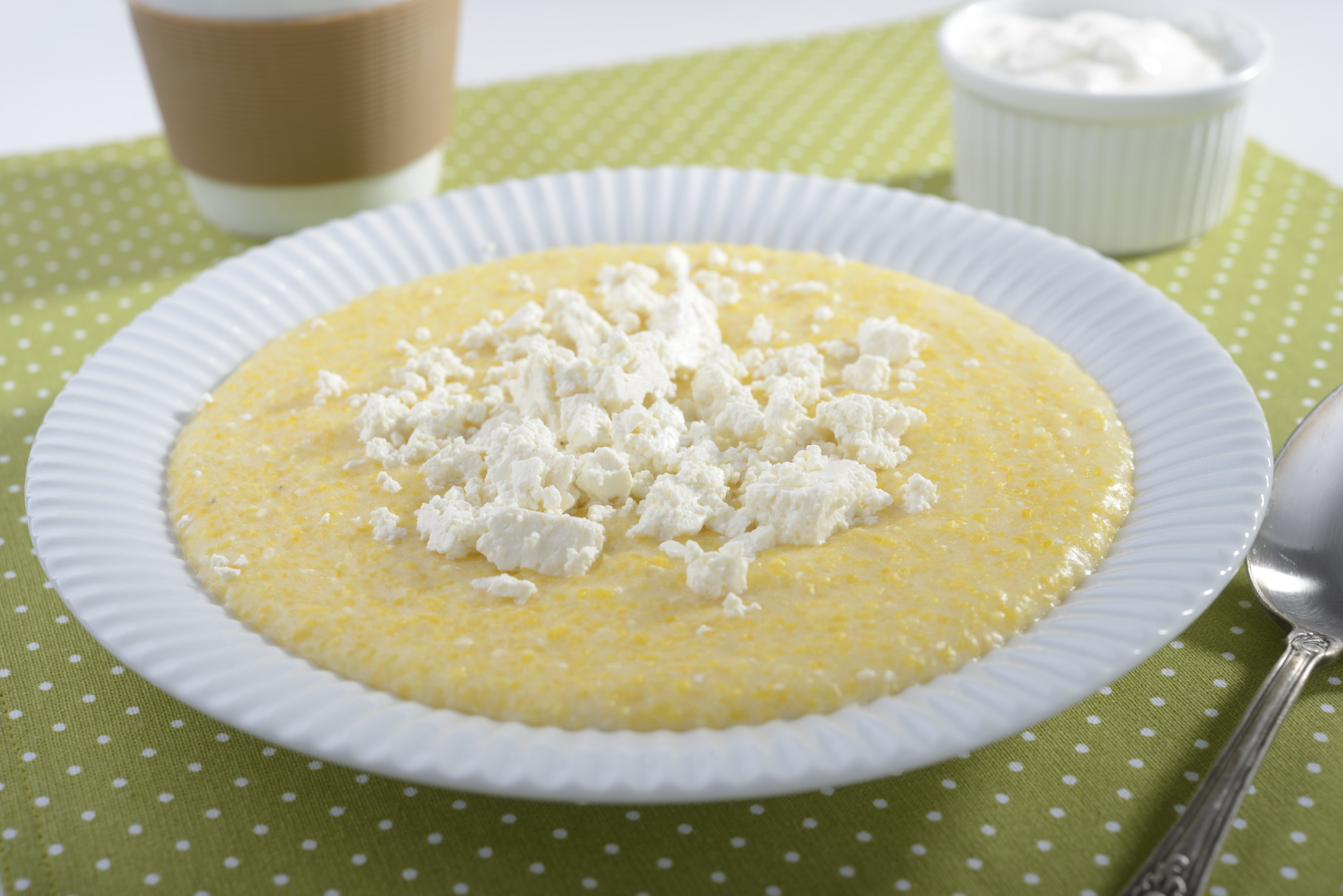 Polenta with feta cheese and greek yogurt