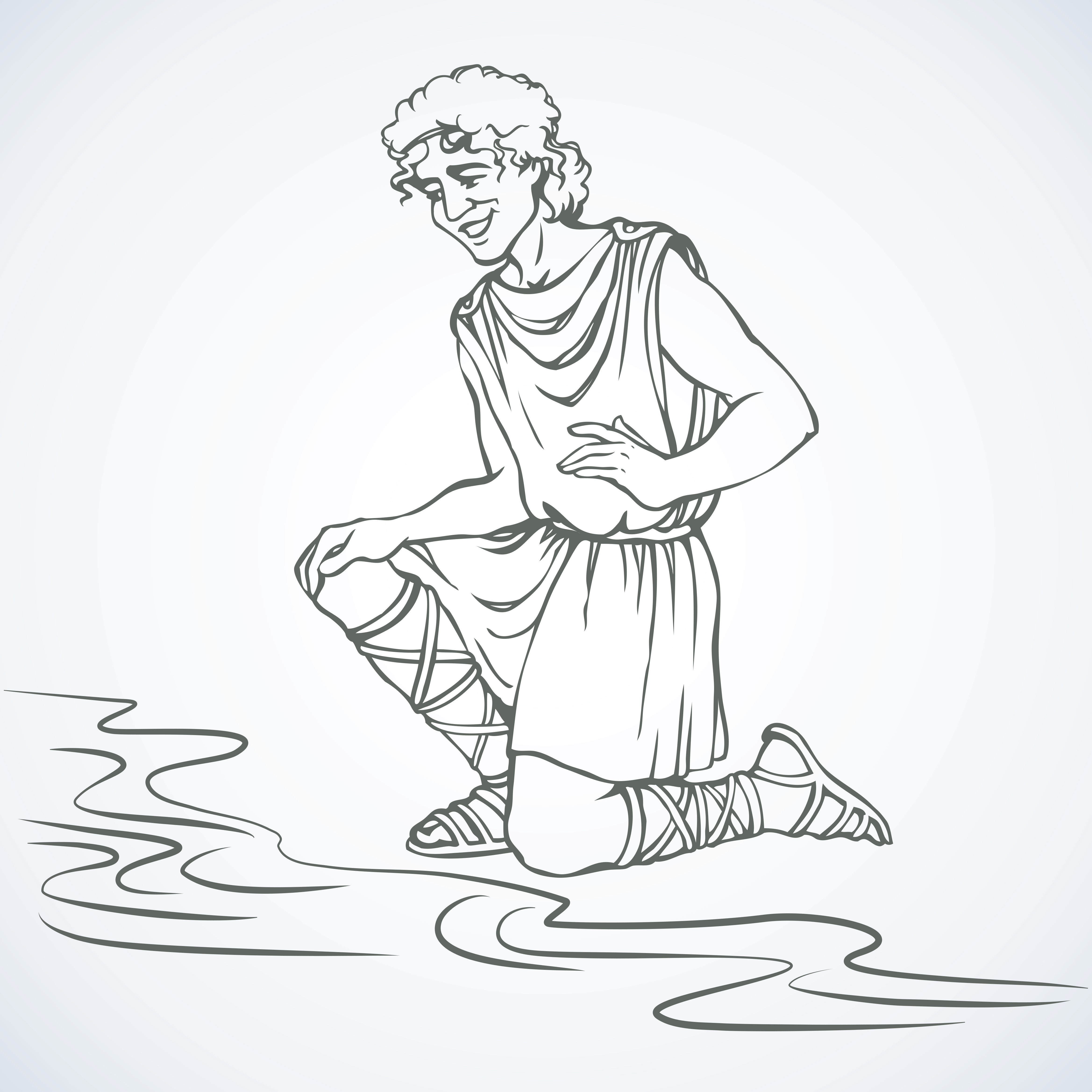 Hero Narkissos was a son of river god and nymph. He was proud, he disdained those who loved him. Vector outline freehand ink drawn background sketch in art antiquity picture style with space for text