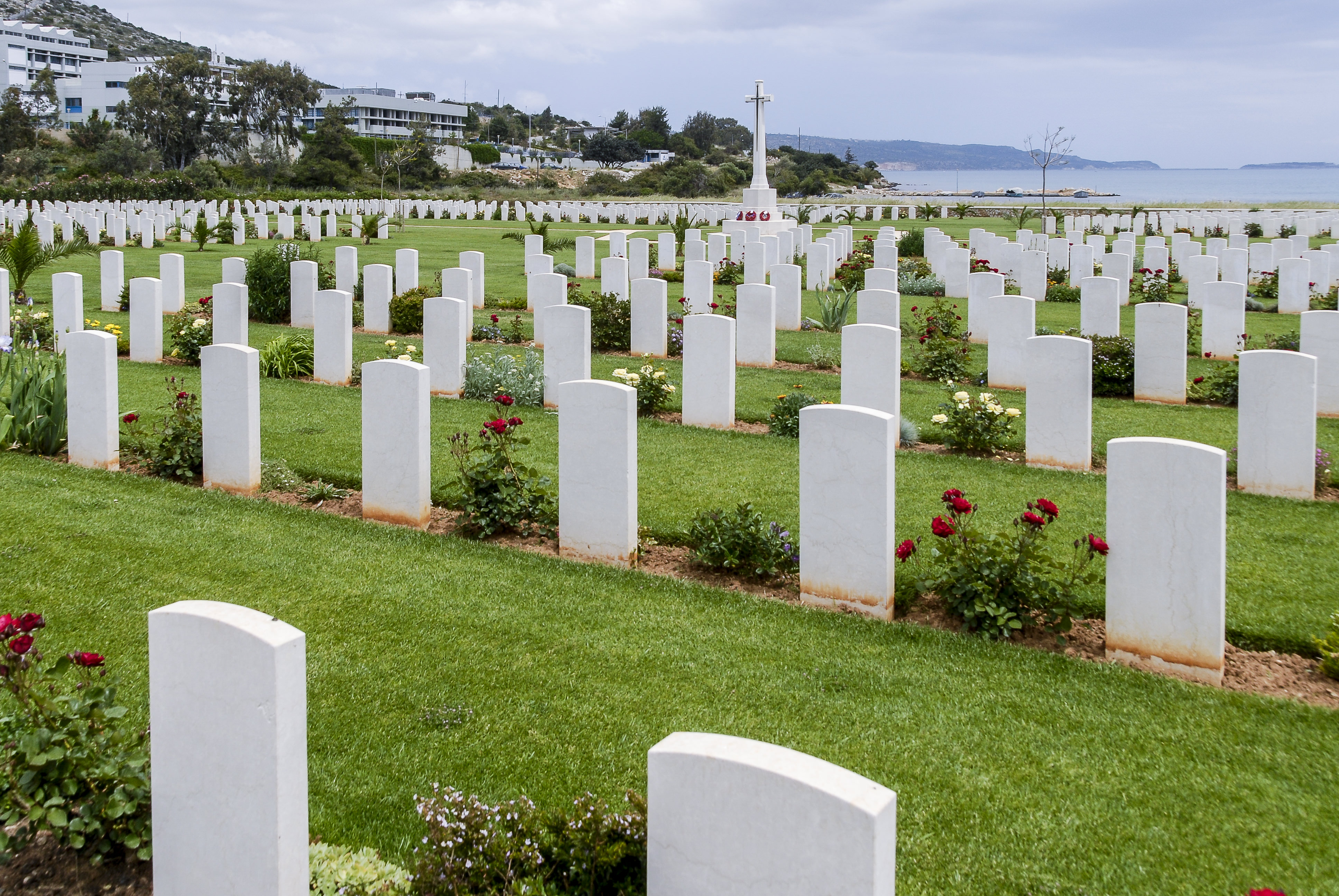 Suda Bay WWII Allied Cemetery, Akrotiri Peninsula, Crete, Greece. British, Australian and New Zealand soldiers lie buried here. The cemetery is near Chania.
