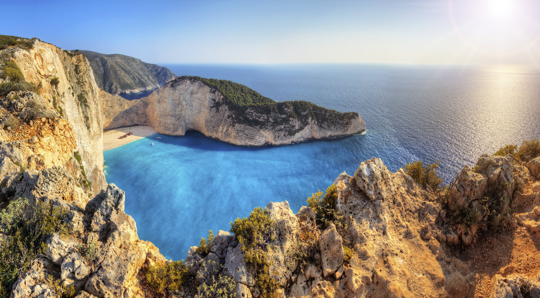 Beautiful panorama of Navagio or Shipwreck beach on the island of Zakynthos in the afternoon