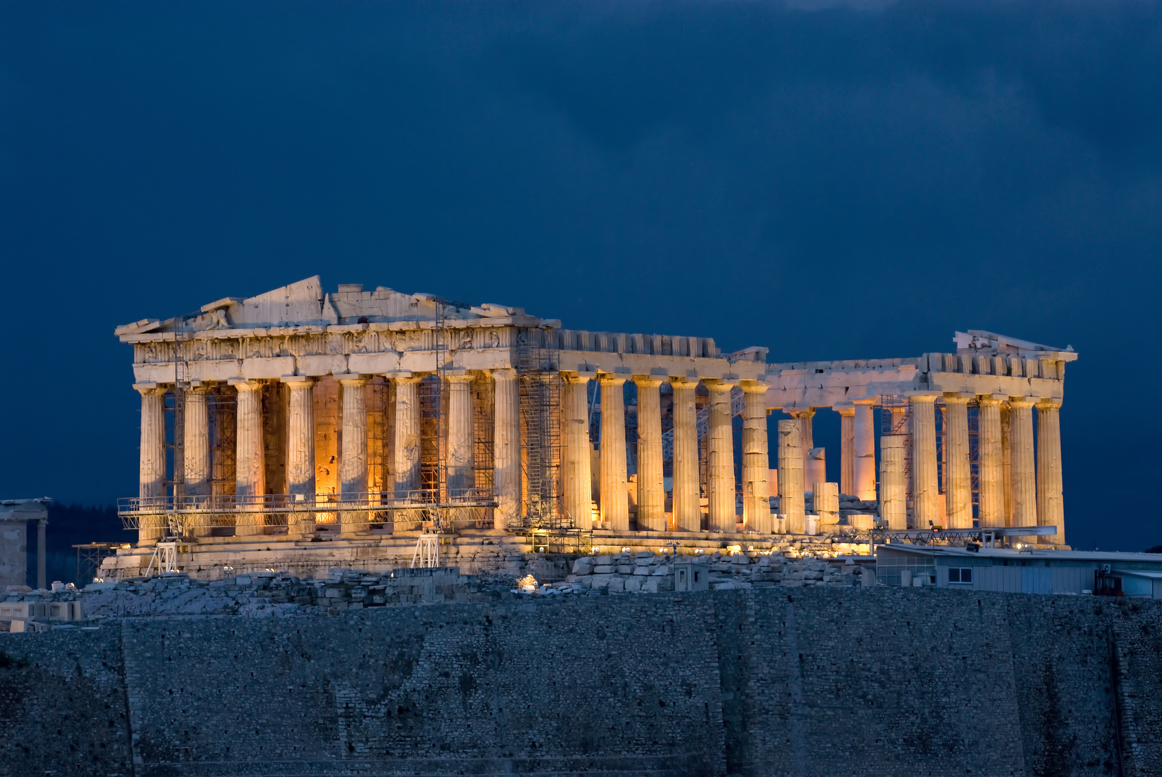 Parthenon at night on Acropolis at Athens Greece