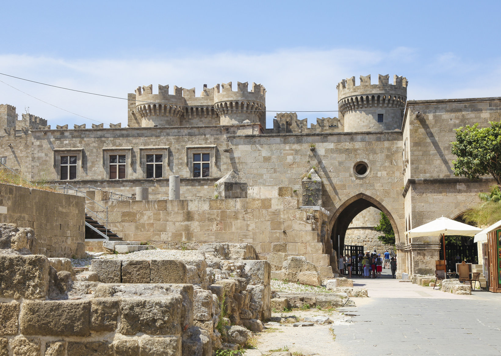 Rhodes, Greece - June 7, 2015: Unidentified people at the Palace of the Grand Master of the Knights of Rhodes, a medieval castle of the Hospitaller Knights on the island of Rhodes, Greece.