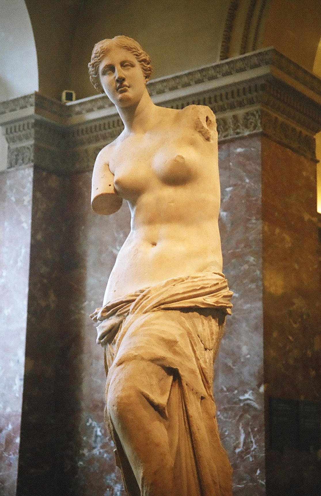 Venus de Milo is an ancient Greek statue and one of the most famous works of ancient Greek sculpture