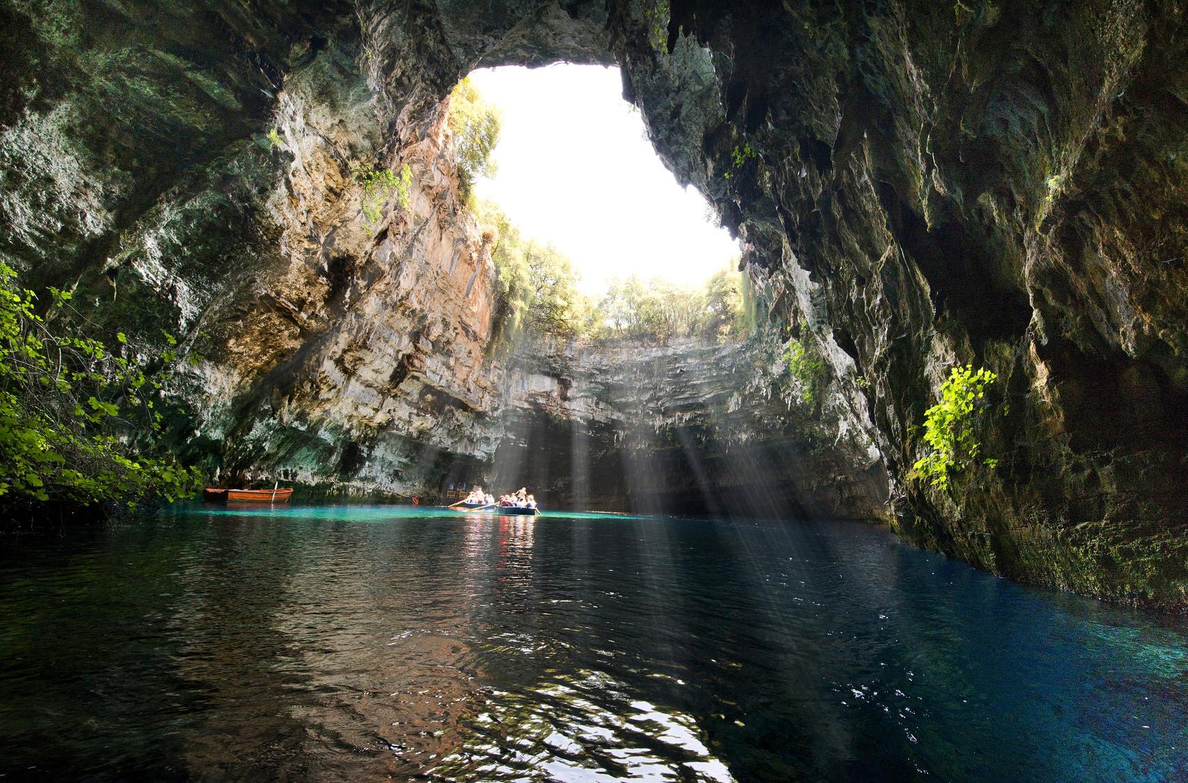 Famous melissani lake on Kefalonia island - GreeceInside famous mellisani lake with on Kefalonia island - GreeceFamous mellisani lake on Kefalonia island - Greece