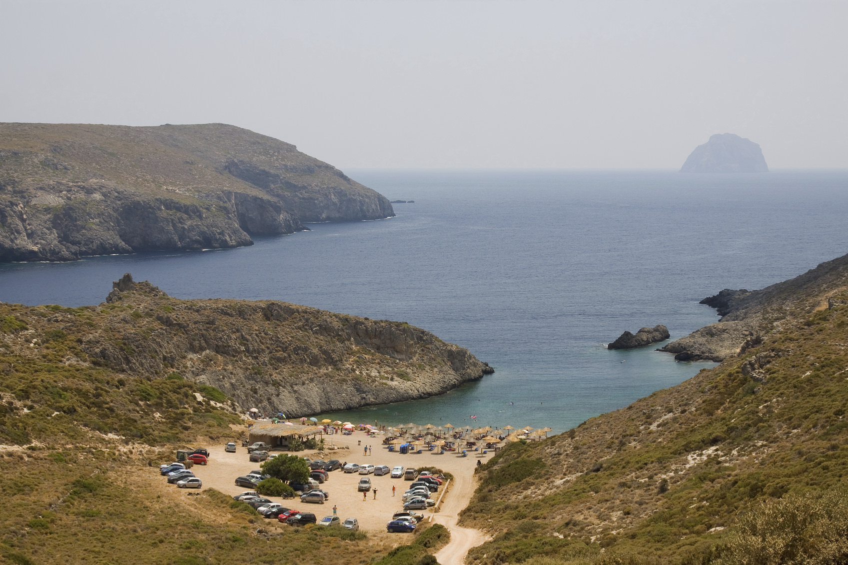 The picturesque beach of Chalkos, on the southern part of Kithira island, Greece