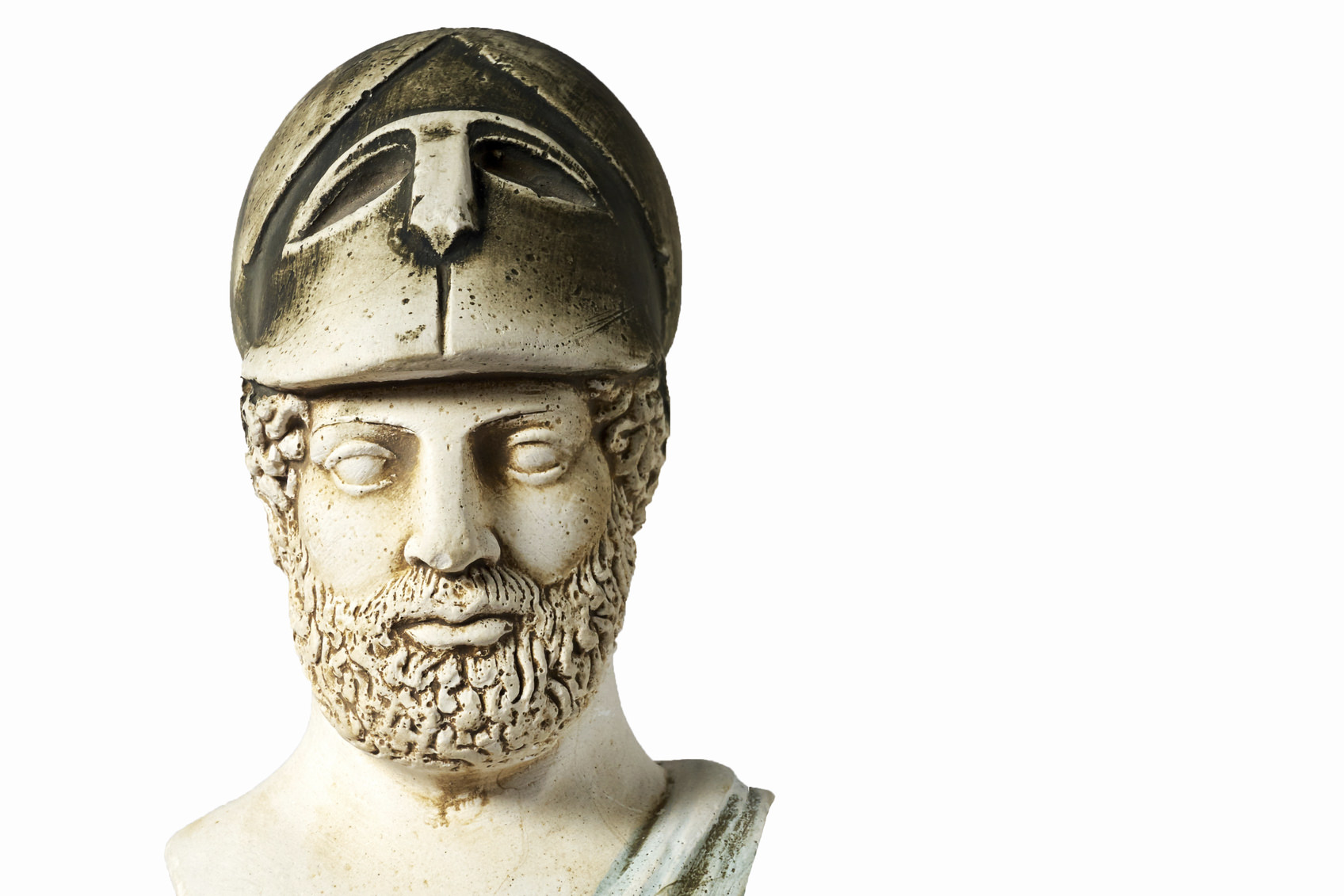 Pericles was Ancient Greek statesman, orator and general of Athens during the Golden Age. White marble bust of him on white background