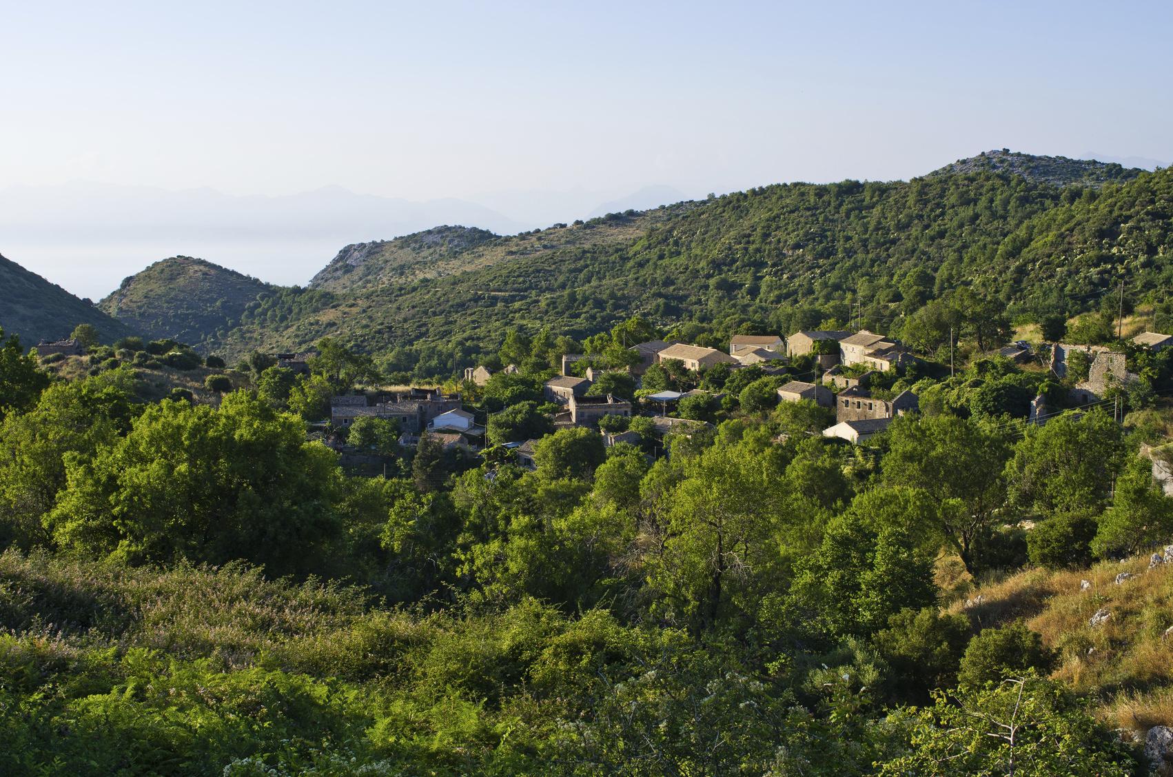 Perithia - abandoned village on Corfu island, Greece