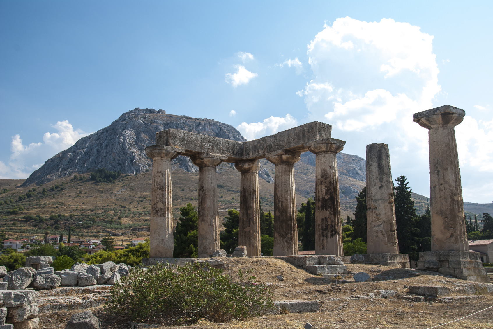 Ruins of Ancient Corinth, Greece with the Acrocorinth in the background