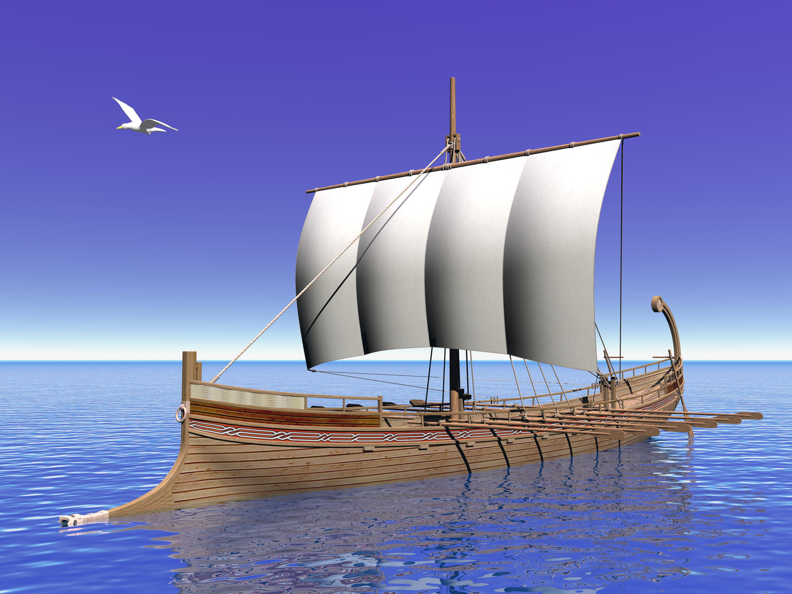 Close up of greek boat on the ocean with seagull flying around in blue background