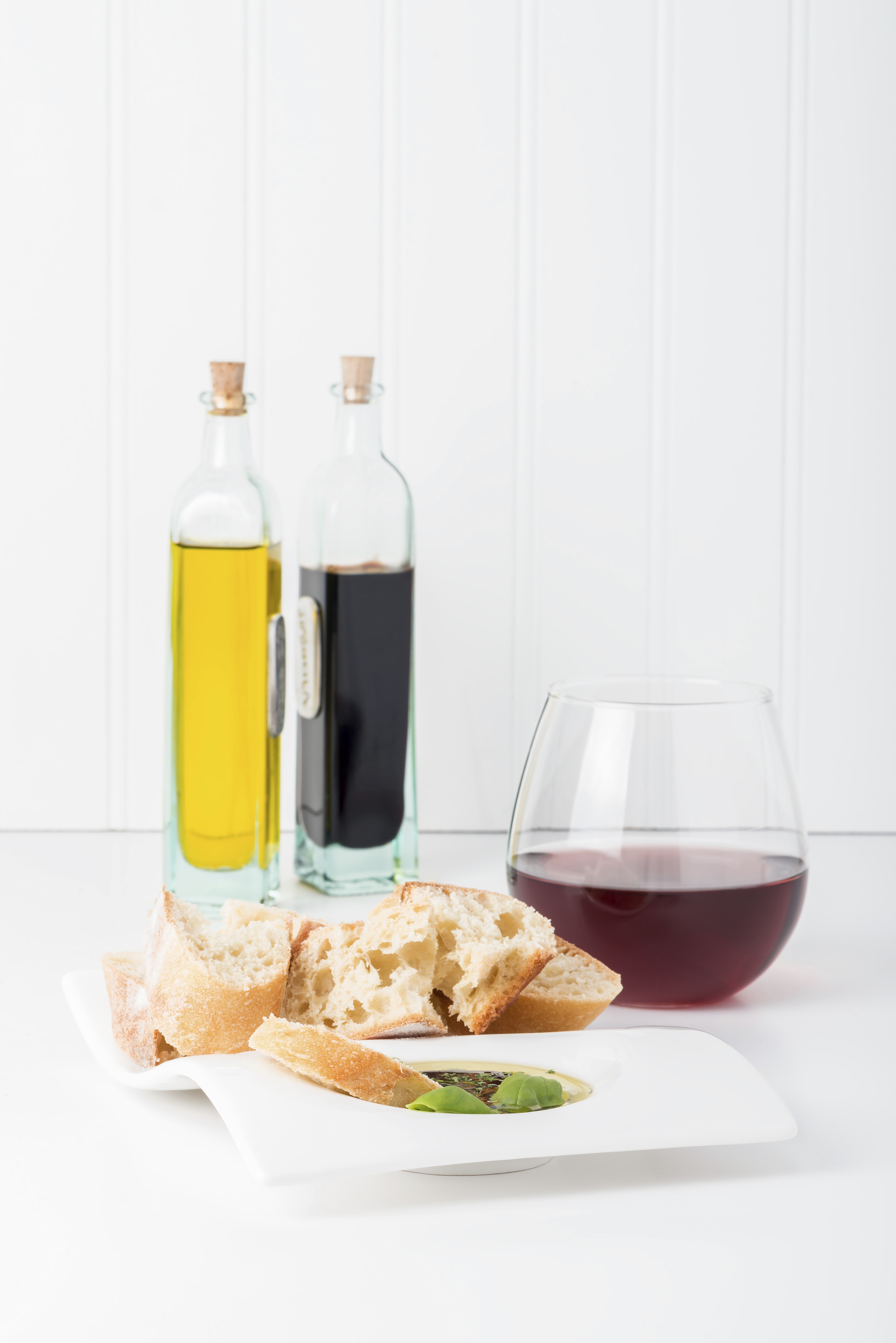 Fresh baguette with an olive oil, balsamic vinegar and fresh herb dip.