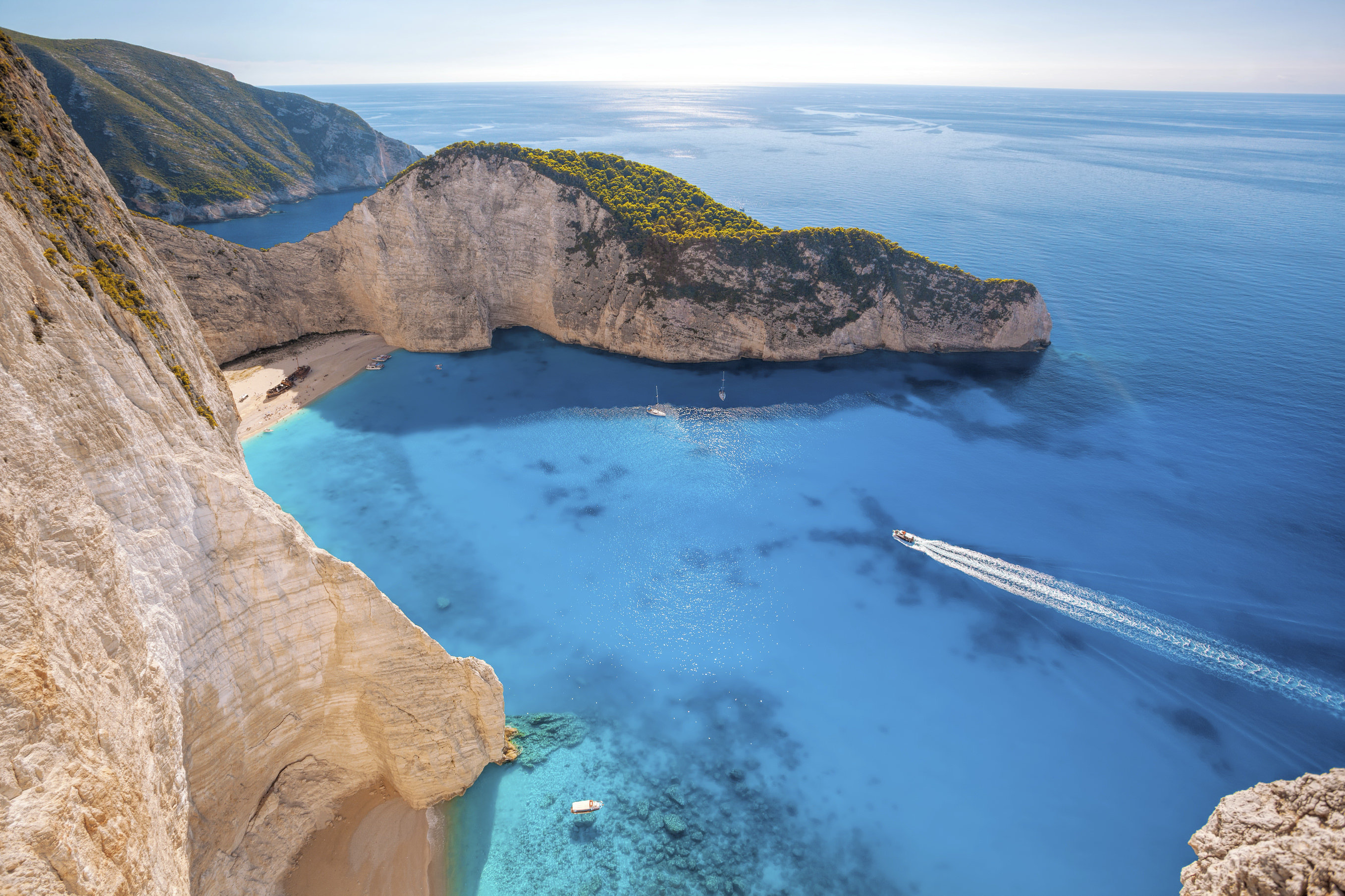 Famous Navagio beach with shipwreck on Zakynthos island in Greece