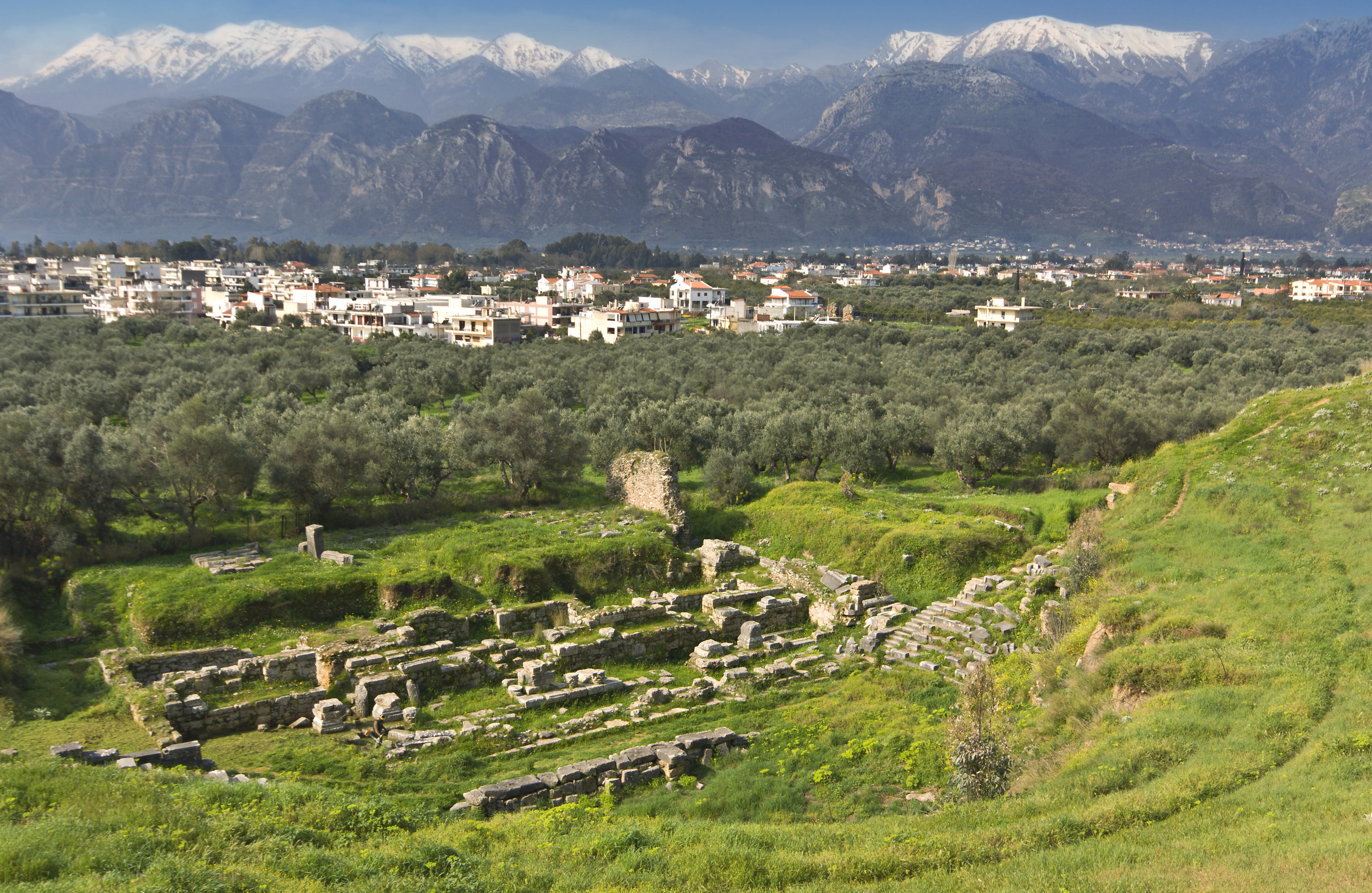 Ancient and modern Sparta historical city in Greece. Mothercity of King Leonidas.of the 300 soldiers fought at Thermopylae against the Persians