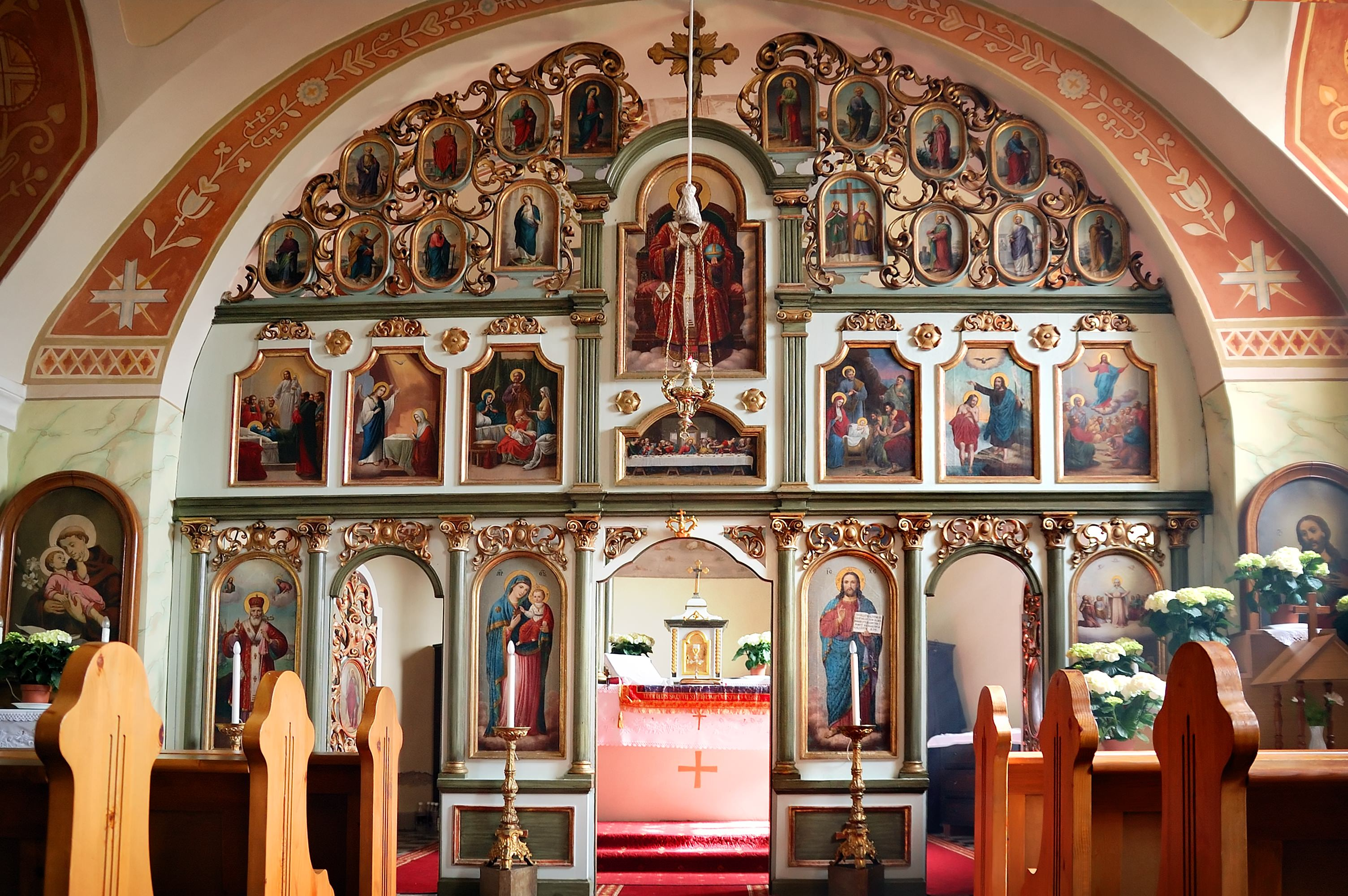 Orthodox church inside, with the rich decorated altar screen.