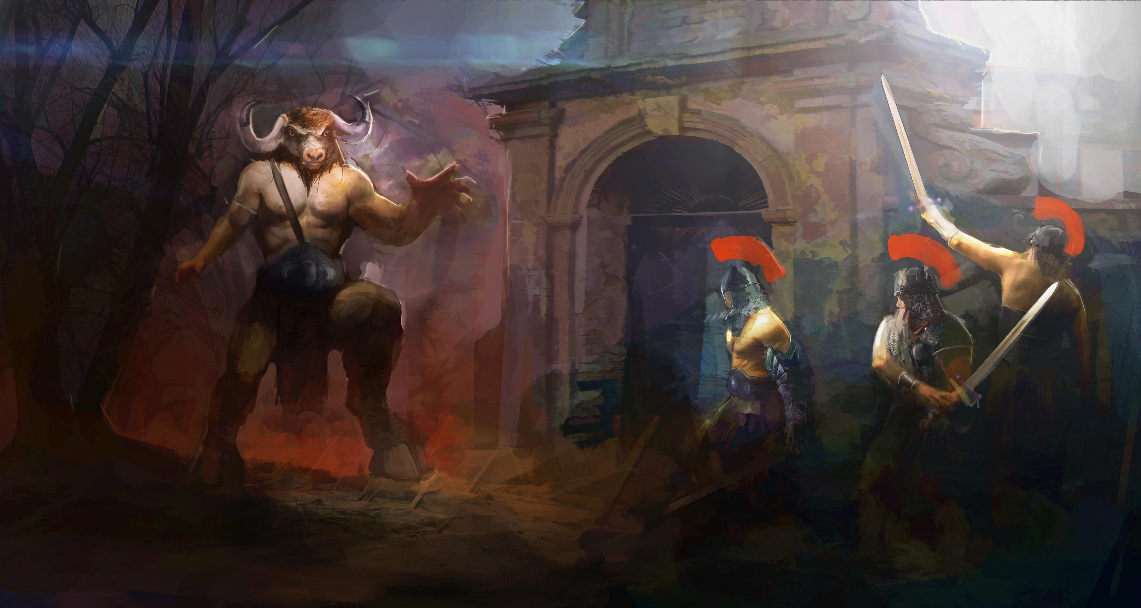 angry minotaur fighting warriors