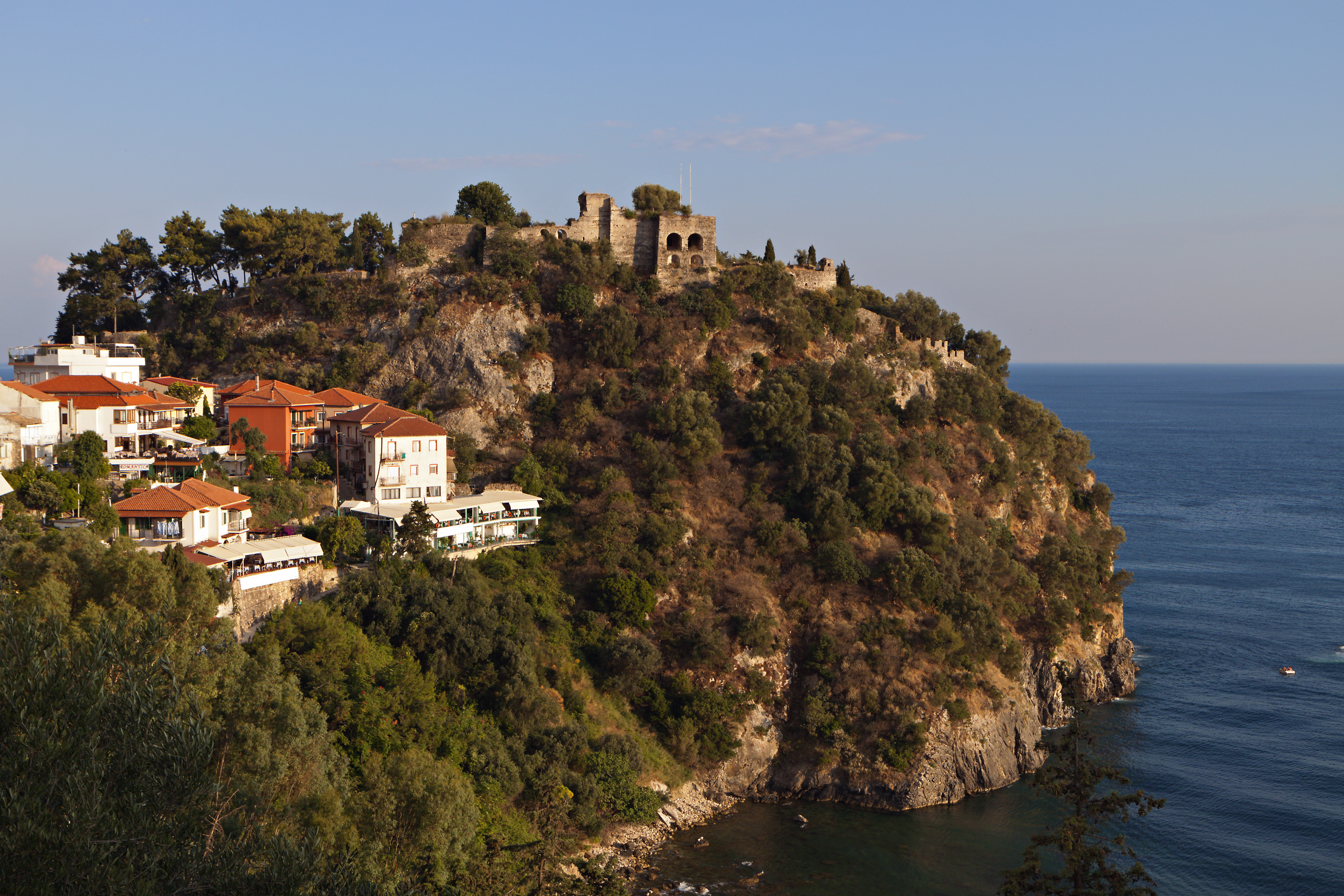 Parga town and the castle in Greece