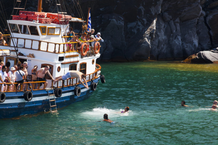 Take a Boat Trip to the Volcano Hot Springs on Santorini